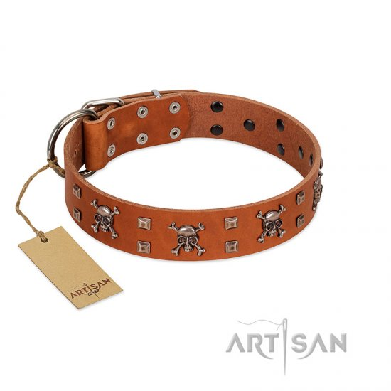 """Rebellious Nature"" FDT Artisan Tan Leather Cane Corso Collar Embellished with Crossbones and Square Studs"