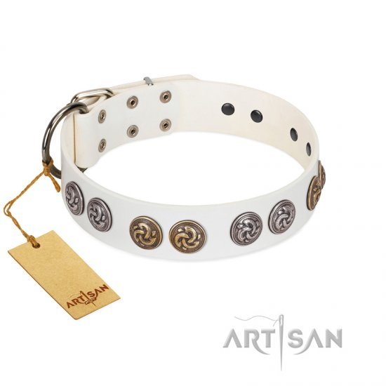 """White Moonlight"" FDT Artisan White Leather Cane Corso Collar with Elegant Decorations"