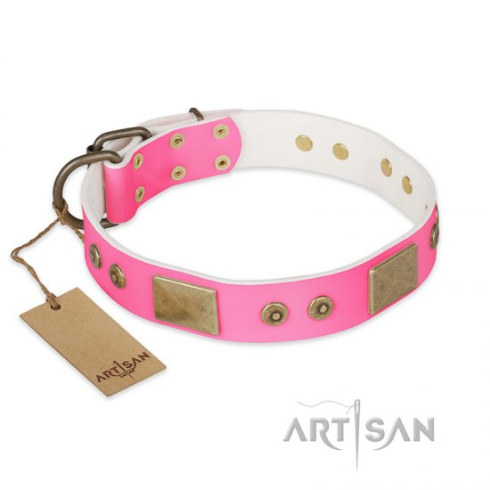"""Pink World"" FDT Artisan Pink Leather Cane Corso Collar with Old Bronze Look Plates and Studs"