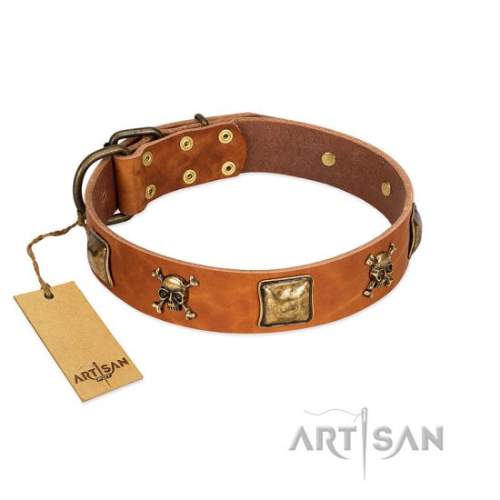 """Knights Templar"" FDT Artisan Tan Leather Cane Corso Collar with Skulls and Crossbones Combined with Squares"