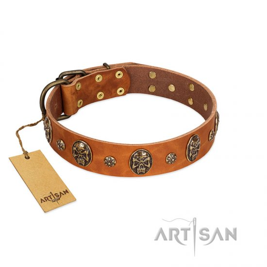 """Rockstar"" FDT Artisan Tan Leather Cane Corso Collar with Engraved Studs and Medallions"