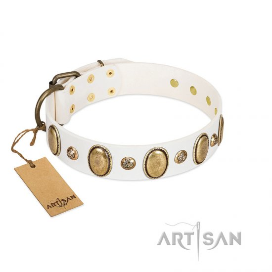 """Milky Lagoon"" FDT Artisan White Leather Cane Corso Collar with Vintage Looking Oval and Round Adornments"
