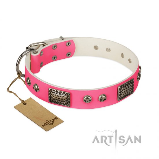 """Fashion Skulls"" FDT Artisan Pink Leather Cane Corso Collar with Old Silver Look Plates and Skulls"