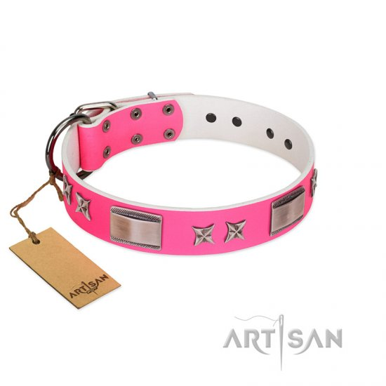 """Pinky Fantasy"" Pink FDT Artisan Leather Cane Corso Collar with Chrome-plated Stars and Large Plates"