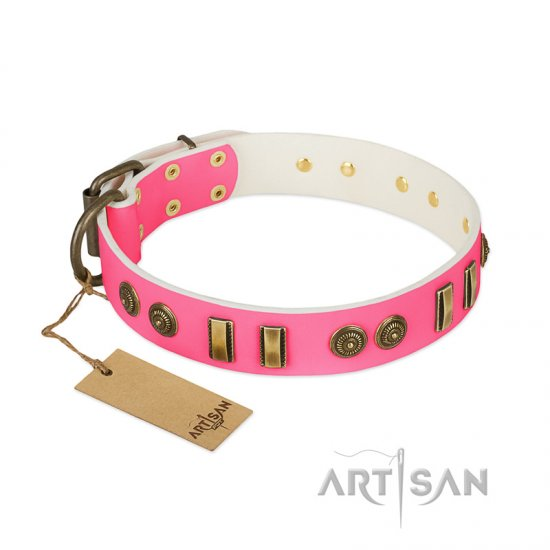 """Pink Amulet"" FDT Artisan Leather Cane Corso Collar with Old Bronze-like Plates and Circles"