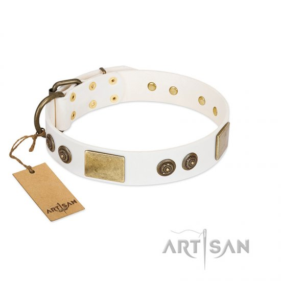 """Sweet Melody"" FDT Artisan White Leather Cane Corso Collar with Plates and Ornamented Studs"