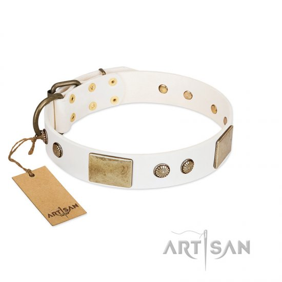 """Pure Elegance "" FDT Artisan White Decorated Leather Cane Corso Collar - 1 1/2 inch (40 mm) wide"