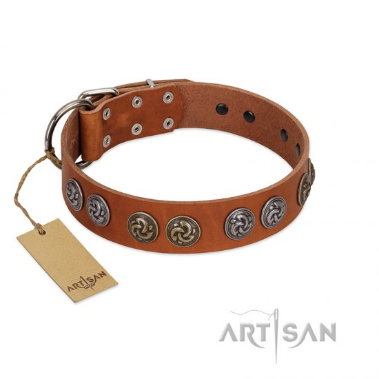 """Luxurious Life"" Premium Quality FDT Artisan Tan Leather Cane Corso Collar with Round Adornments"
