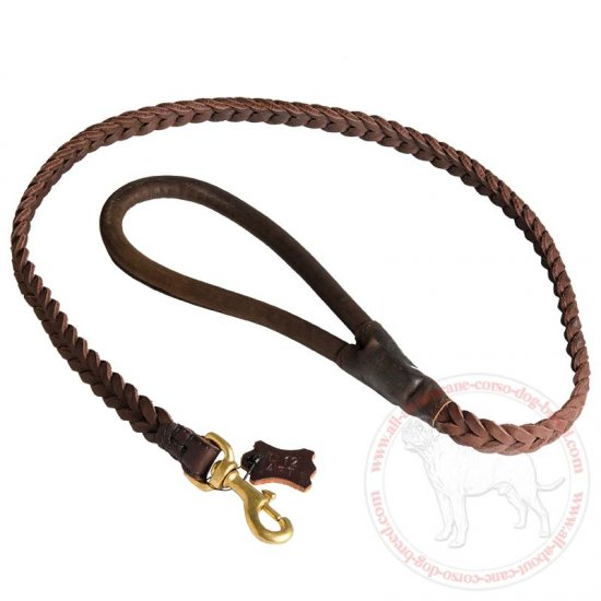 4 FT Braided Leather Dog Leash for Cane Corso