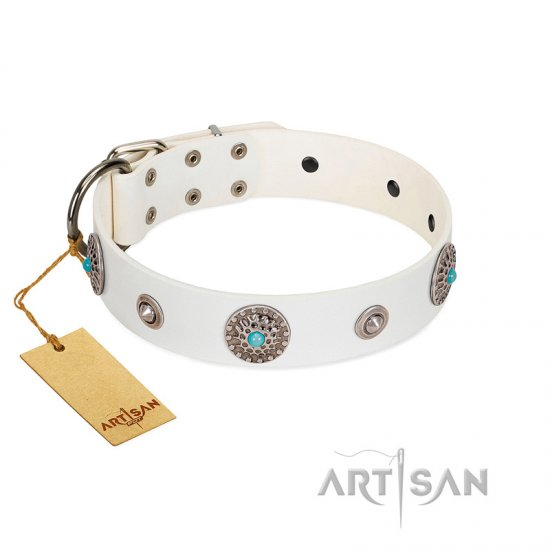 """Lush Life"" Designer Handcrafted FDT Artisan White Leather Cane Corso Collar with Blue Stones"