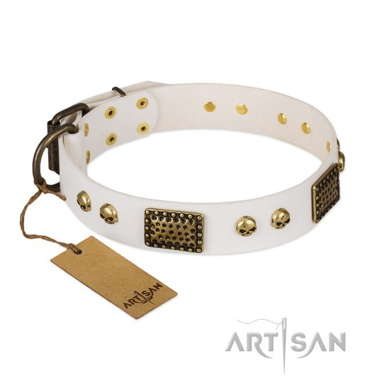 """Lost Treasures"" FDT Artisan White Leather Cane Corso Collar with Old Bronze Look Plates and Skulls"