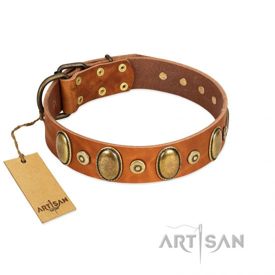 """Crystal Sand"" FDT Artisan Tan Leather Cane Corso Collar with Vintage Looking Oval and Round Studs"