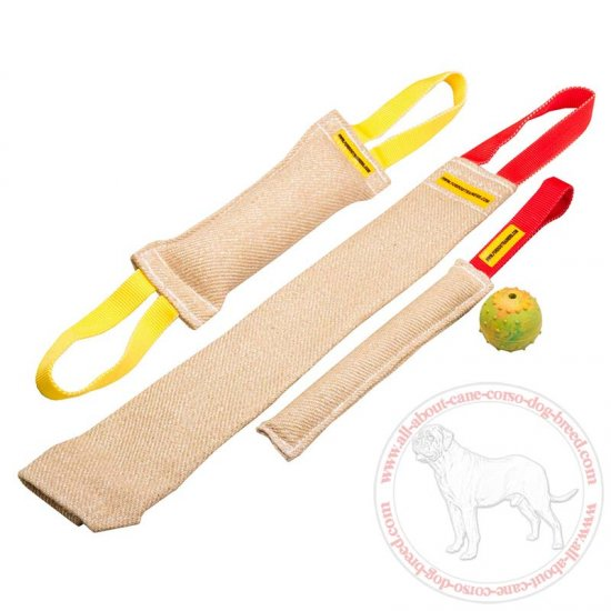 Small Set of Jute Bite Training Tugs with Handles for Cane Corso - Plus Rubber Ball as Extra Bonus