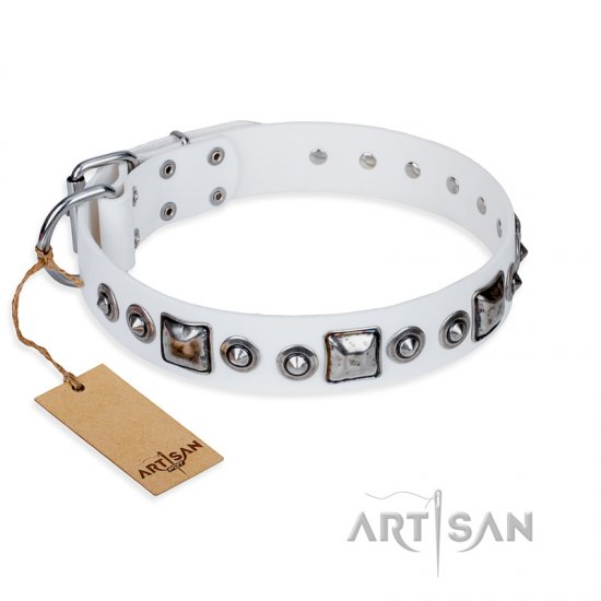 """Lustre of Fame"" FDT Artisan White Studded Leather Cane Corso Collar"