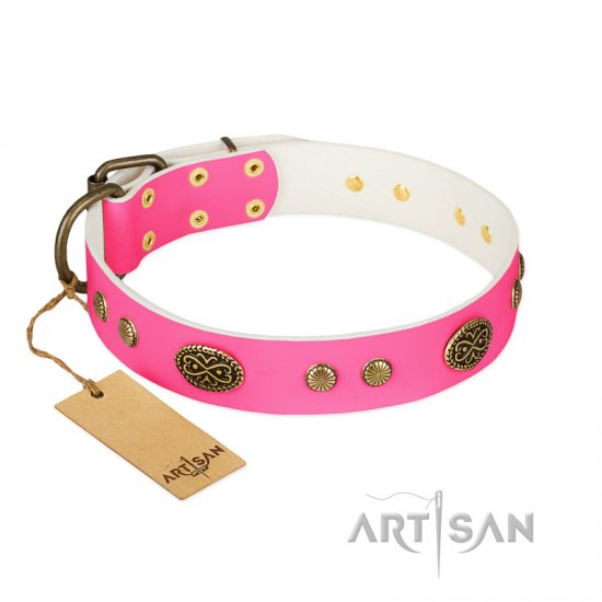 """Twinkle Pink"" FDT Artisan Pink Leather Cane Corso Collar with Old Bronze Look Plates and Circles"