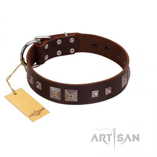 """Object of Virtu"" FDT Artisan Brown Leather Cane Corso Collar with Old Silver-like Square Studs and Pyramids"