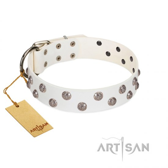 """Wild Flora"" FDT Artisan White Leather Cane Corso Collar with Silver-like Engraved Studs"
