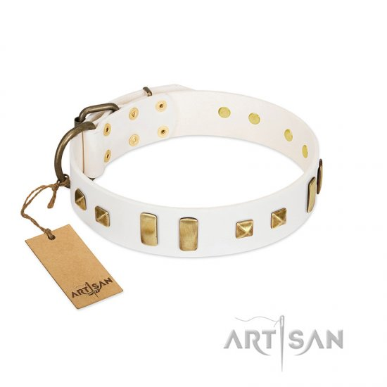 """Wintertide Mood"" FDT Artisan White Leather Cane Corso Collar with Old Bronze-like Plates and Studs"