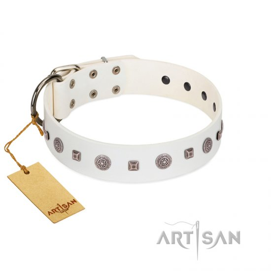 """Drops on Snow"" Handmade FDT Artisan White Leather Cane Corso Collar Adorned with Silver-Like Studs"