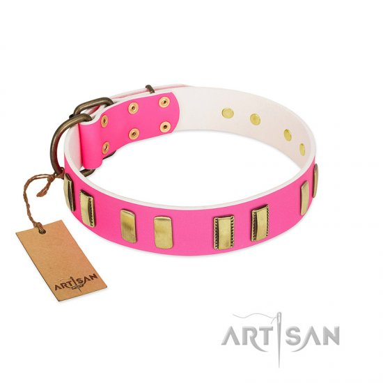 """Rubicund Frill"" FDT Artisan Pink Leather Cane Corso Collar with Engraved and Smooth Plates"