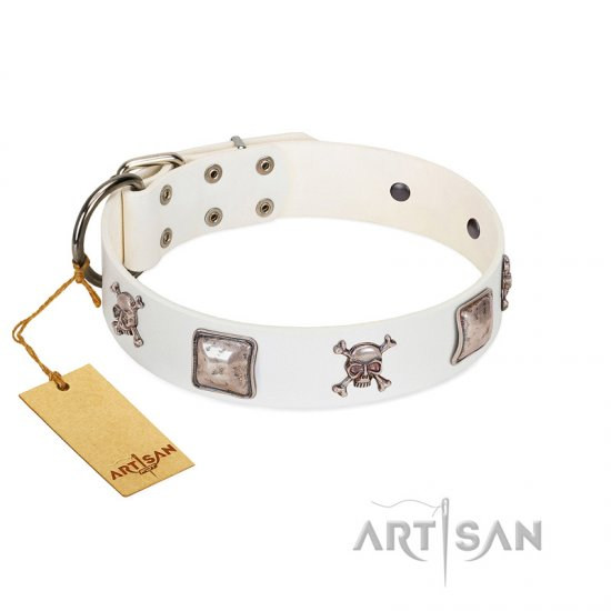"""Pirate Sloop"" Handmade FDT Artisan Designer White Leather Cane Corso Collar with Crossbones"