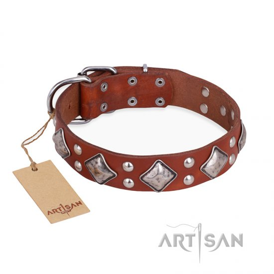 """Magic Squares"" FDT Artisan Tan Leather Cane Corso Collar with Silver-like Decor"