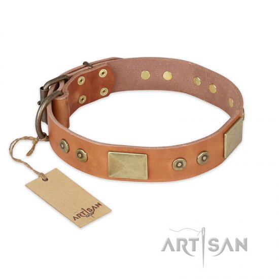 """The Middle Ages"" FDT Artisan Handcrafted Tan Leather Cane Corso Collar"