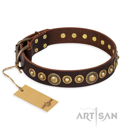 """Ancient Warrior"" FDT Artisan Fancy Leather Cane Corso Collar with Old-Bronze Plated Decorations"