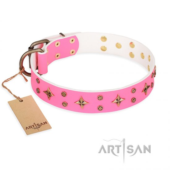 'Chi-Chi Pink Rose' FDT Artisan Leather Cane Corso Collar with Decorations