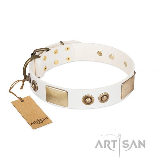 """Noble Impulse"" FDT Artisan White Leather Cane Corso Collar Adorned with Antique Plates and Studs"