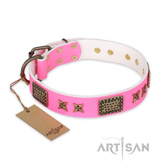 """Tender Pink"" FDT Artisan Leather Cane Corso Collar with Old Bronze Look Stars and Plates"