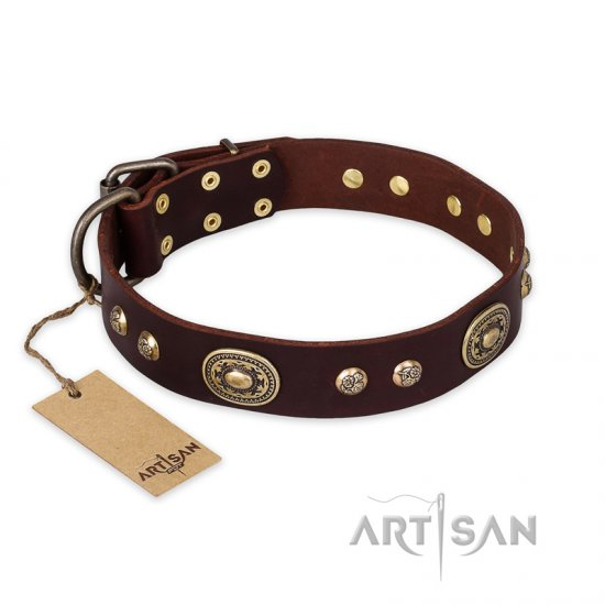 """Breath of Elegance"" FDT Artisan Decorated with Plates Brown Leather Cane Corso Collar"