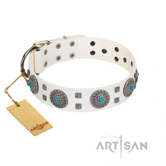 """Blue Sapphire"" Designer FDT Artisan White Leather Cane Corso Collar with Round Plates and Square Studs"