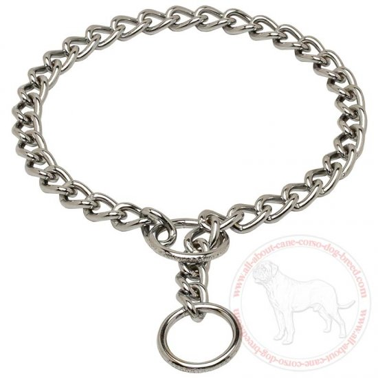 Training Chain Dog Choker Steel Chrome Plated