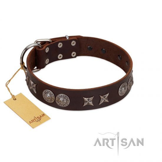 """Antique Style"" Designer Handmade FDT Artisan Brown Leather Cane Corso Collar"