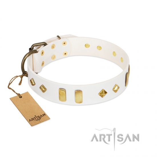 """Hella Cool"" FDT Artisan White Leather Cane Corso Collar Adorned with Plates and Rhombs"