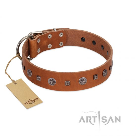 """Sweet Caramel"" Designer FDT Artisan Tan Leather Cane Corso Collar"