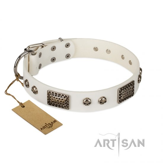 """Terrific Beauty"" FDT Artisan Beguiling White Leather Cane Corso Collar"