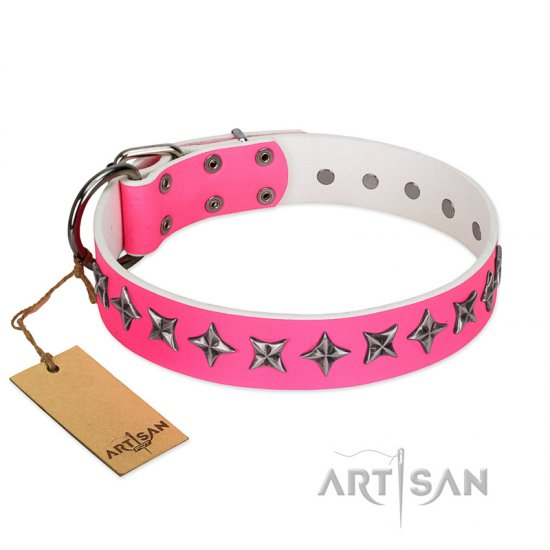 """Star Dreams"" FDT Artisan Pink Leather Cane Corso Collar with Silver-like Stars"