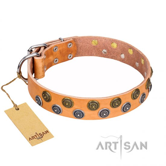 """Precious Sparkle"" FDT Artisan Tan Leather Cane Corso Collar with Vintage Decorations"