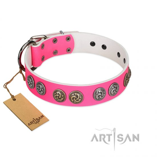 """Pink Butterfly"" Designer FDT Artisan Pink Leather Cane Corso Collar with Round Studs"