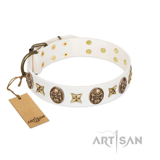 """Fads and Fancies"" FDT Artisan White Leather Cane Corso Collar with Stars and Skulls"