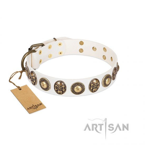"""White Delight"" FDT Artisan White Leather Cane Corso Collar with Exclusive Embelishments"
