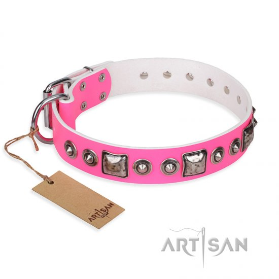 """Pink Dream"" FDT Artisan Leather Cane Corso Collar with Silvery Decorations"