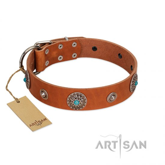 """Marine Antiques"" Handmade FDT Artisan Tan Leather Cane Corso Collar with Blue Stones"