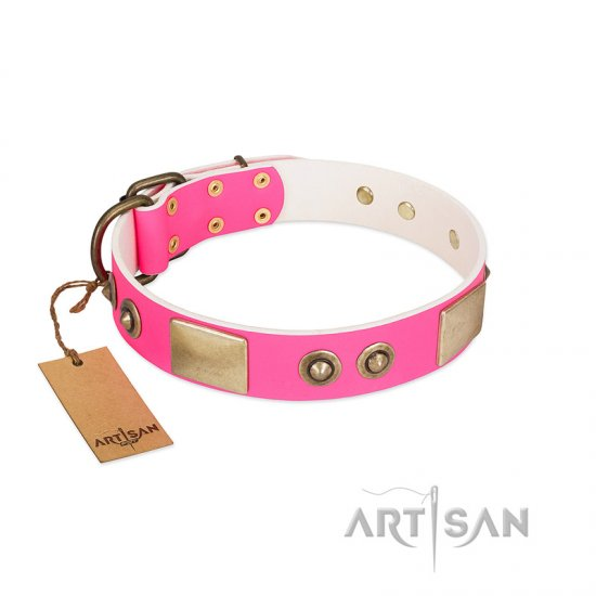 """Pink Splash"" FDT Artisan Soft Leather Cane Corso Collar with Bronze-like Plates and Medallions"