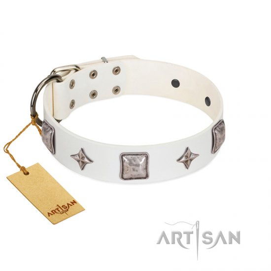 """Vanilla Ice"" FDT Artisan Handmade White Leather Cane Corso Collar with Silver-like Adornments"