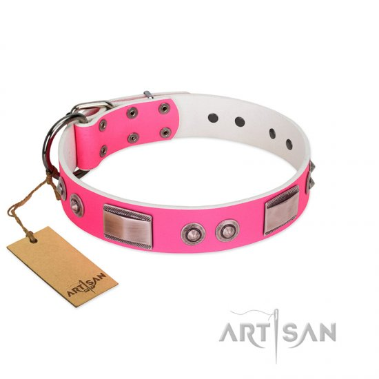 """Lady's Whim"" FDT Artisan Pink Leather Cane Corso Collar with Plates and Spiked Studs"