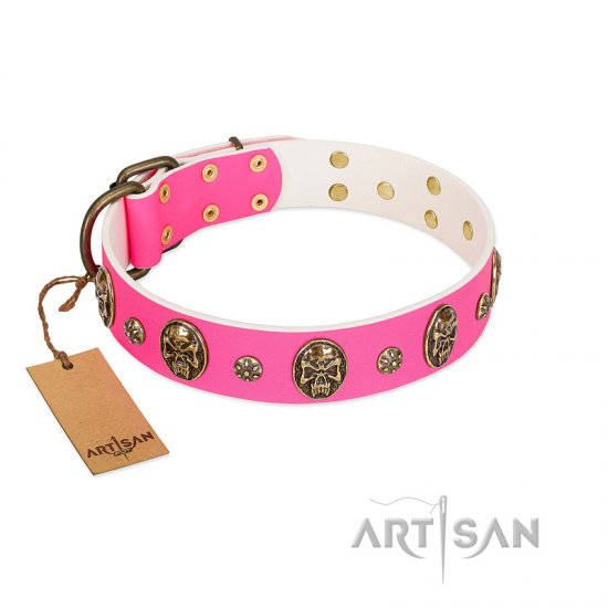 """Fashion Show"" FDT Artisan Pink Leather Cane Corso Collar with Old Bronze-like Skulls and Studs"