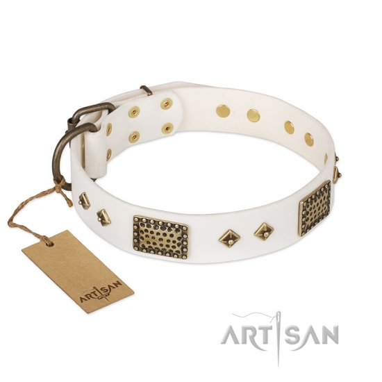 """Snow-covered Gold"" FDT Artisan White Leather Cane Corso Collar"